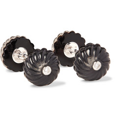 Trianon 18-Karat White Gold, Onyx and Diamond Cufflinks