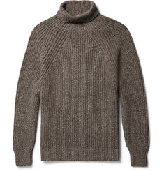 Inis Meáin Ribbed Mélange Merino Wool and Cashmere-Blend Rollneck Sweater