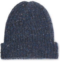 Inis Meáin Ribbed Mélange Merino Wool and Cashmere-Blend Beanie