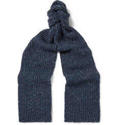 Inis Meáin Ribbed Mélange Merino Wool and Cashmere-Blend Scarf