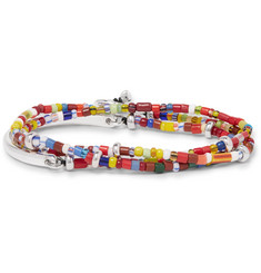 Isaia Saracino Glass and Silver Bead Wrap Bracelet