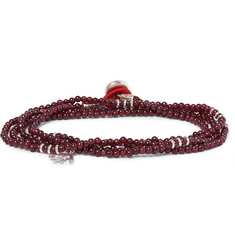 Isaia Garnet Bead and Silver Wrap Bracelet