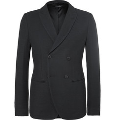 Giorgio Armani - Blue Ginza Slim-Fit Double-Breasted Hopsack Blazer