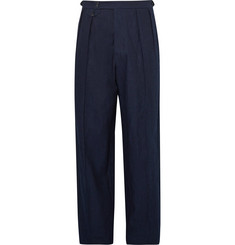 Giorgio Armani Wide-Leg Pleated Cotton and Linen-Blend Trousers