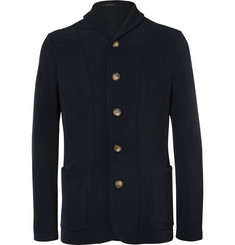 Giorgio Armani Blue Slim-Fit Unstructured Stretch-Twill Blazer