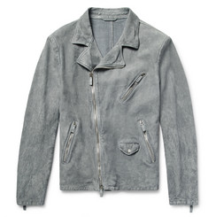Giorgio Armani - Slim-Fit Washed-Suede Biker Jacket