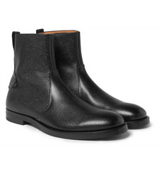 McCaffrey - Pebble-Grain Leather Zip-Up Boots