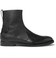 McCaffrey Pebble-Grain Leather Zip-Up Boots