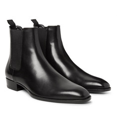 Saint Laurent Polished-Leather Chelsea Boots