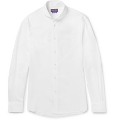 Ralph Lauren Purple Label - Keaton Slim-Fit Cutaway-Collar Mercerised Cotton-Piqué Shirt