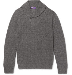 Ralph Lauren Purple Label - Shawl-Collar Waffle-Knit Cashmere and Silk-Blend Sweater