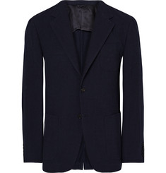 Camoshita Blue Slim-Fit Checked Wool-Seersucker Blazer