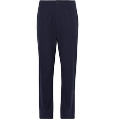 Camoshita Pleated Checked Wool-Seersucker Trousers
