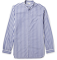 Camoshita - Slim-Fit Grandad-Collar Striped Cotton-Poplin Shirt