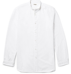 Camoshita - Grandad-Collar Cotton Oxford Shirt