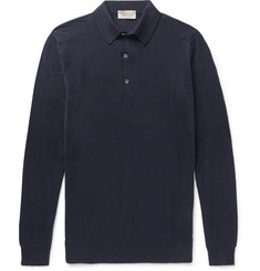 John Smedley Lanlay Cotton and Cashmere-Blend Polo Shirt