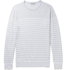 John Smedley Striped Knitted Sea Island Cotton Sweater