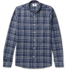 NN07 Falk Button-Down Collar Checked Cotton-Twill Shirt