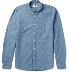 NN07 - Slim-Fit Button-Down Collar Cotton-Chambray Shirt