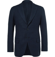 MP Massimo Piombo Blue Linen, Cotton and Silk-Blend Hopsack Blazer