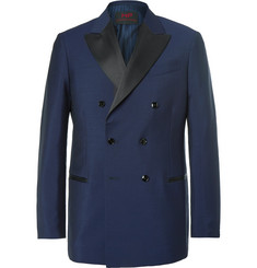 MP Massimo Piombo - Blue Slim-Fit  Double-Breasted Wool and Alpaca-Blend Tuxedo Jacket