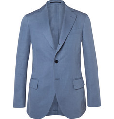 MP Massimo Piombo Blue Slim-Fit Cotton and Linen-Blend Twill Suit Jacket