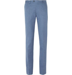 MP Massimo Piombo Blue Slim-Fit Cotton and Linen-Blend Twill Suit Trousers
