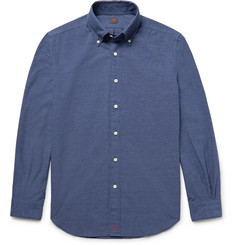 MP Massimo Piombo Slim-Fit Button-Down Collar Cotton-Blend Chambray Shirt