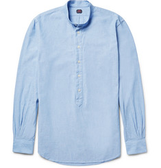 MP Massimo Piombo Grandad-Collar Cotton-Chambray Shirt