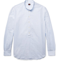 MP Massimo Piombo Grandad-Collar Striped Slub Linen and Cotton-Blend Shirt