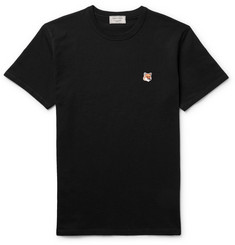 Maison Kitsuné Fox-Embroidered Cotton-Jersey T-Shirt
