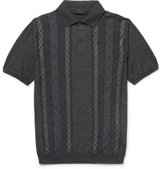 Prada - Slim-Fit Jacquard-Knit Wool Polo Shirt