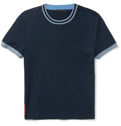 Prada Slim-Fit Stripe-Trimmed Stretch-Cotton Jersey T-Shirt