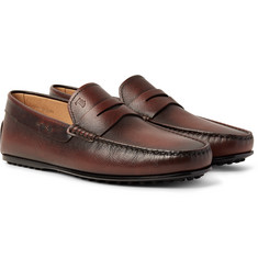 Tod's City Gommino Burnished Cross-Grain Leather Penny Loafers
