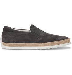 Tod's Raffia-Trimmed Suede Slip-On Sneakers