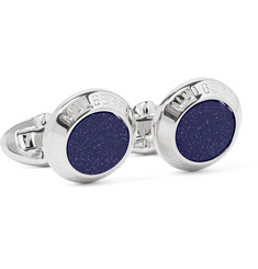 Mulberry Silver-Tone Blue Goldstone Cufflinks