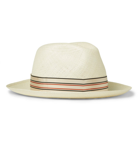 Borsalino Grosgrain-Trimmed Straw Panama Hat In Cream