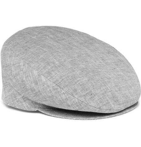Borsalino Herringbone Linen Flat Cap In Gray