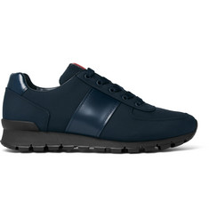 Prada Match Race Leather-Trimmed Canvas Sneakers