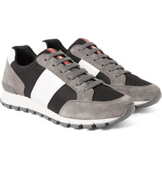 Prada - Match Race Panelled Suede, Mesh and Neoprene Sneakers