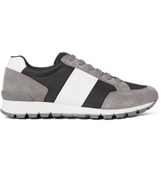 Prada Match Race Panelled Suede, Mesh and Neoprene Sneakers