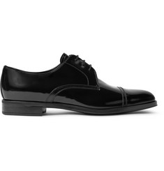 Prada Cap-Toe Spazzolato and Saffiano Leather Derby Shoes