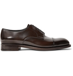 Prada Cap-Toe Spazzolato Leather Derby Shoes