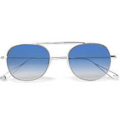 Garrett Leight California Optical Van Buren 49 Folding Aviator-Style Silver-Tone Sunglasses
