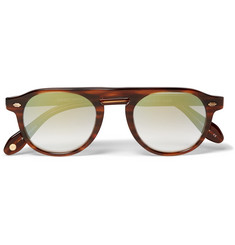 Garrett Leight California Optical Harding 47 Round-Frame Tortoiseshell Acetate Mirrored Sunglasses