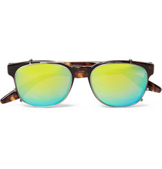 Barton Perreira Byron Tortoiseshell Aviator-Style Optical Glasses With Clip-On Mirrored UV Lenses