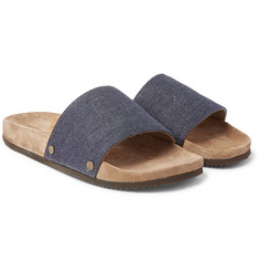 Brunello Cucinelli - Denim and Suede Slides