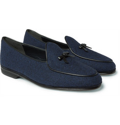 Rubinacci - Marphy Leather-Trimmed Flannel Loafers