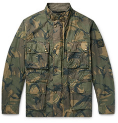 Belstaff Tyefield Camouflage-Print Waxed-Cotton Field Jacket