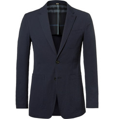Burberry Blue Stretch-Cotton Seersucker Blazer